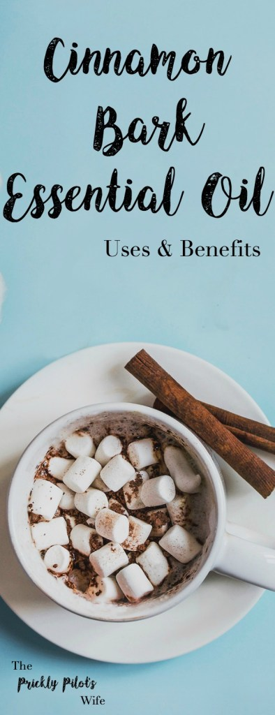 Cup of hot chocolate next to cinnamon sticks against a blue background with Cinnamon Bark Essential Oil written on it.