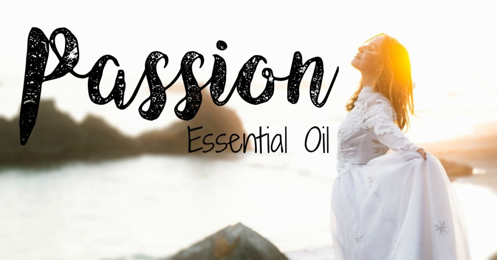 Woman looking up in happiness while hold the skirt of her dress out with Passion essential oil written over the image.