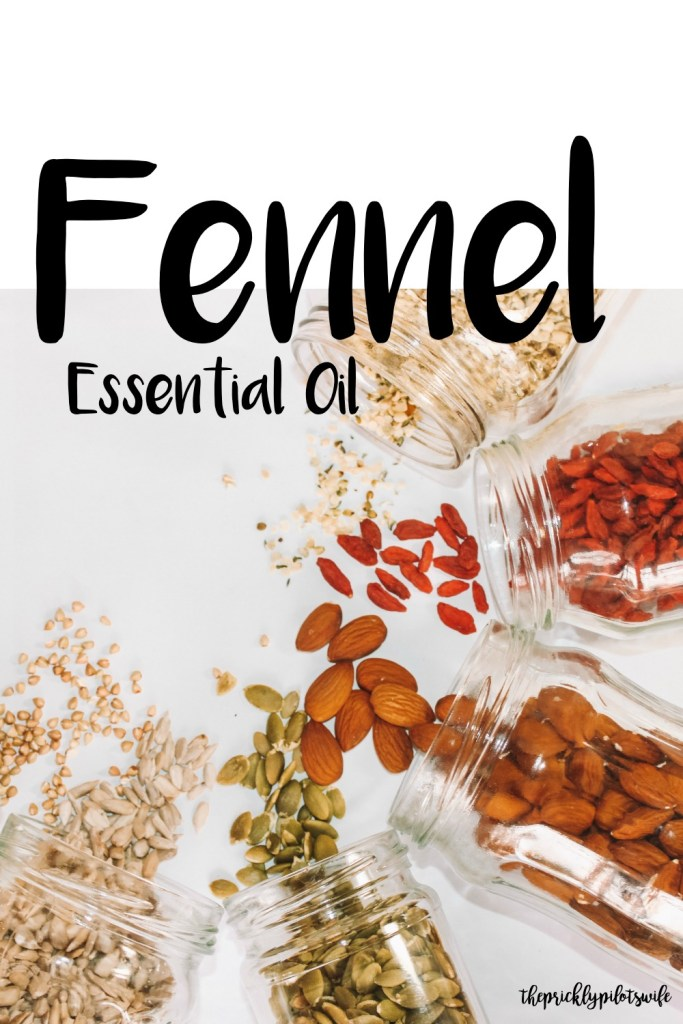 "Vertical Image of 5 jars laying on a white background with various seeds spilling out of the jars with ""Fennel Essential Oil"" written over the image. // The Prickly Pilot's Wife"