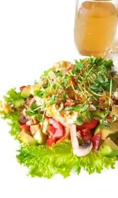 Breakfast salad with hot sauce