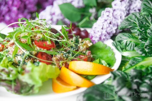 Breakfast salad with fruit and lilacs