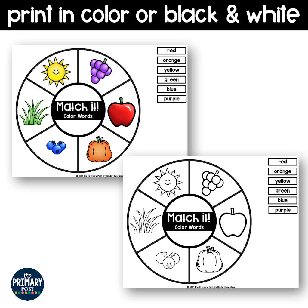 Color Word Match It Freebie
