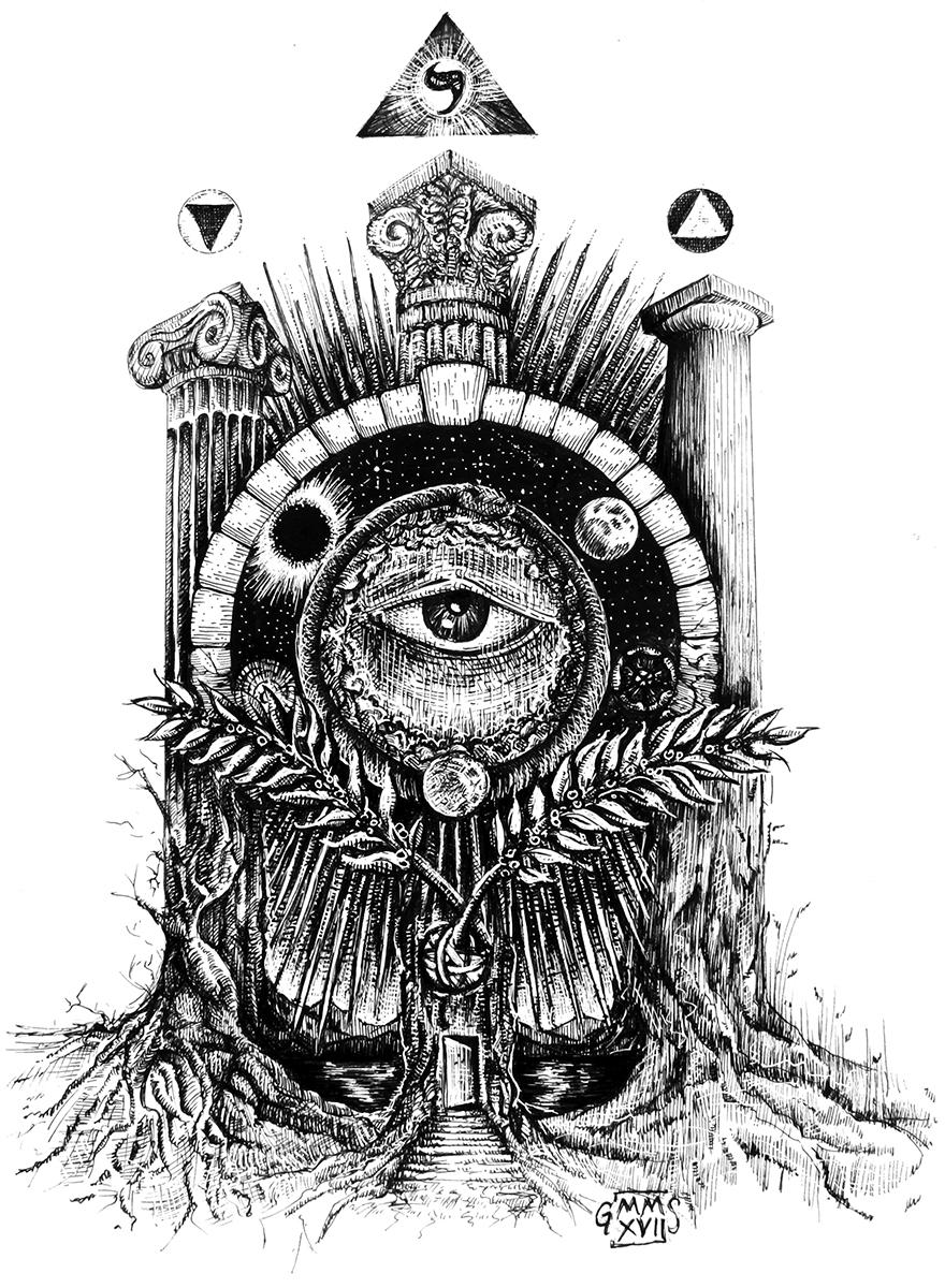 art, illustration, Tree of Life, Freemasonry, all-seeing eye