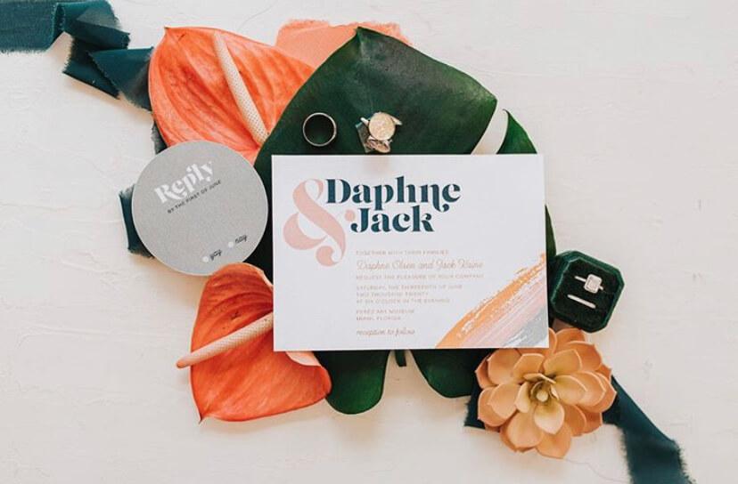 Tropical inspired wedding invitation