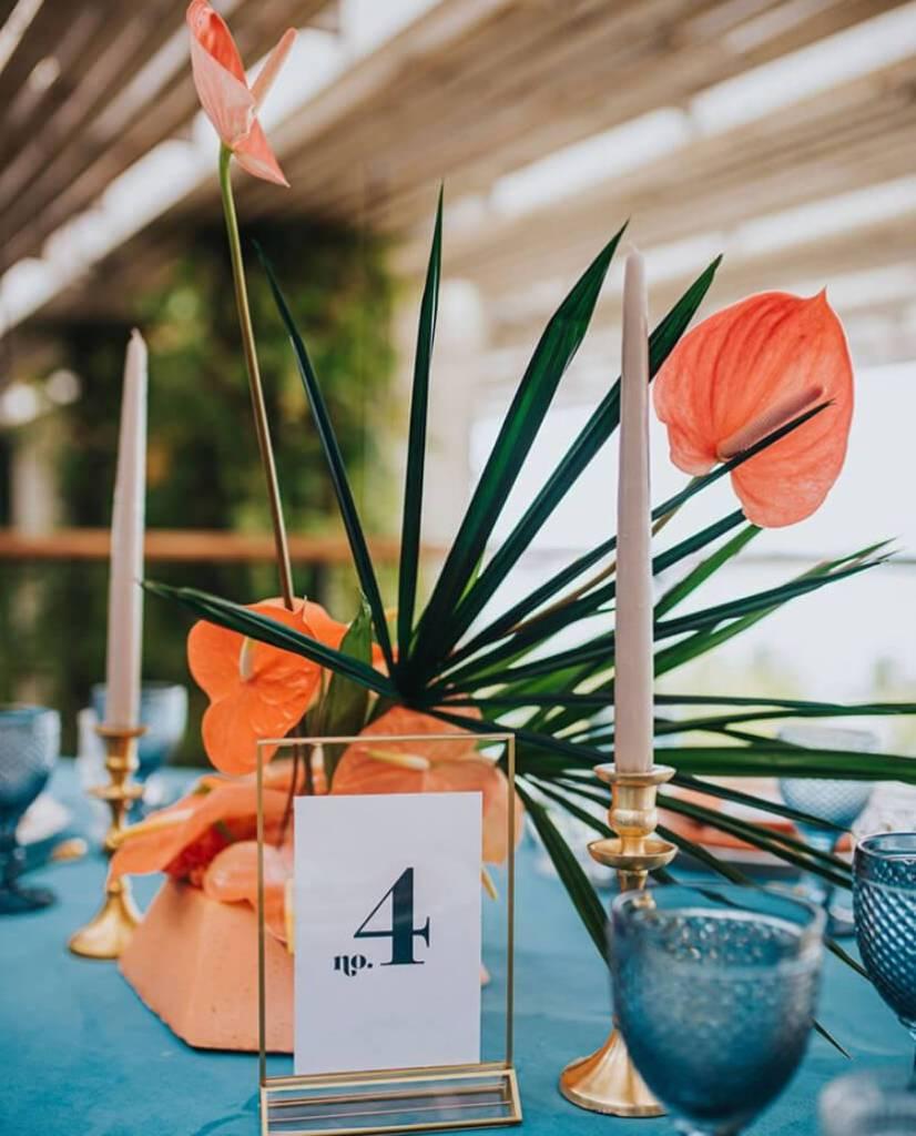 Orange and green wedding reception table