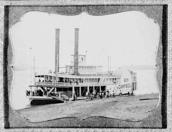 Steamship Ben Campbell in 1852 at wharf LoC