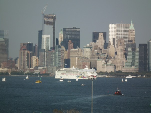 A Norwegian ship leaves New York as seen from the Royal Caribbean Explorer of The Seas. THE PRIVATEER CLAUSE photo
