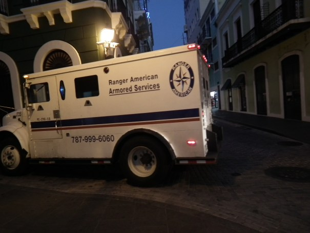 An Armored Truck moves through Old San Juan.  THE PRIVATEER CLAUSE photo