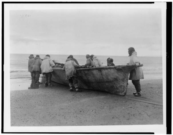 Launching a whale boat at Cape Prince of Wales Alaska 1901