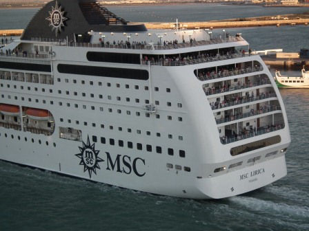 MSC Liraca cruise ship leaves Cadiz Spain. THE PRIVATEER CLAUSE photo