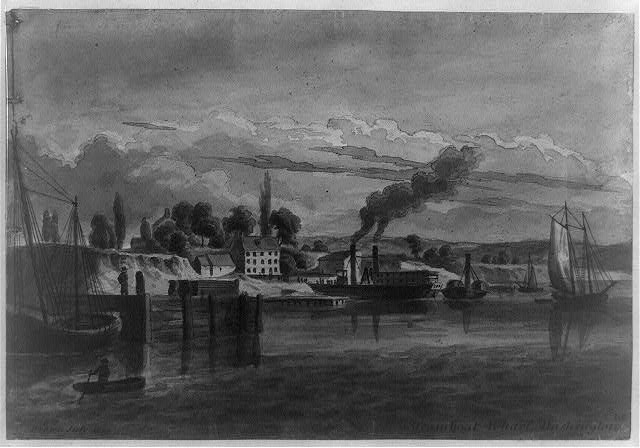 Steamboat wharf in Washington DC in 1836. LoC