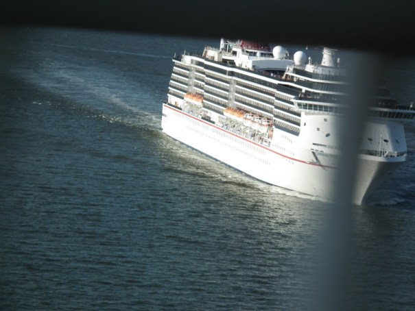 The Carnival Pride as seen from on top of the Chesapeake Bay Bridge. THE PRIVATEER CLAUSE photos