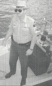 Cpl. Dennis Leland on Natural Resources Police boat from which he enforced fisheries rules and safe boating laws. ST. MARY'S TODAY photo