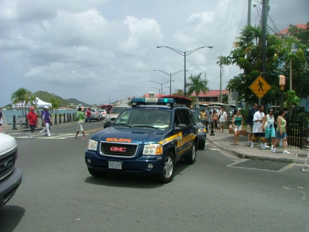 A Virgin Island's Police cruiser is a welcome sight in St. Thomas. THE PRIVATEER CLAUSE photo