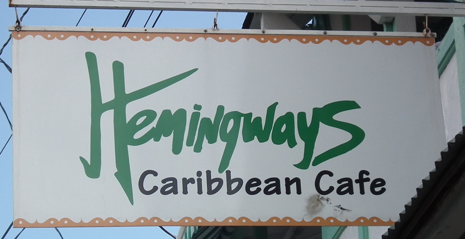 Hemingways Caribbean Cafe sign