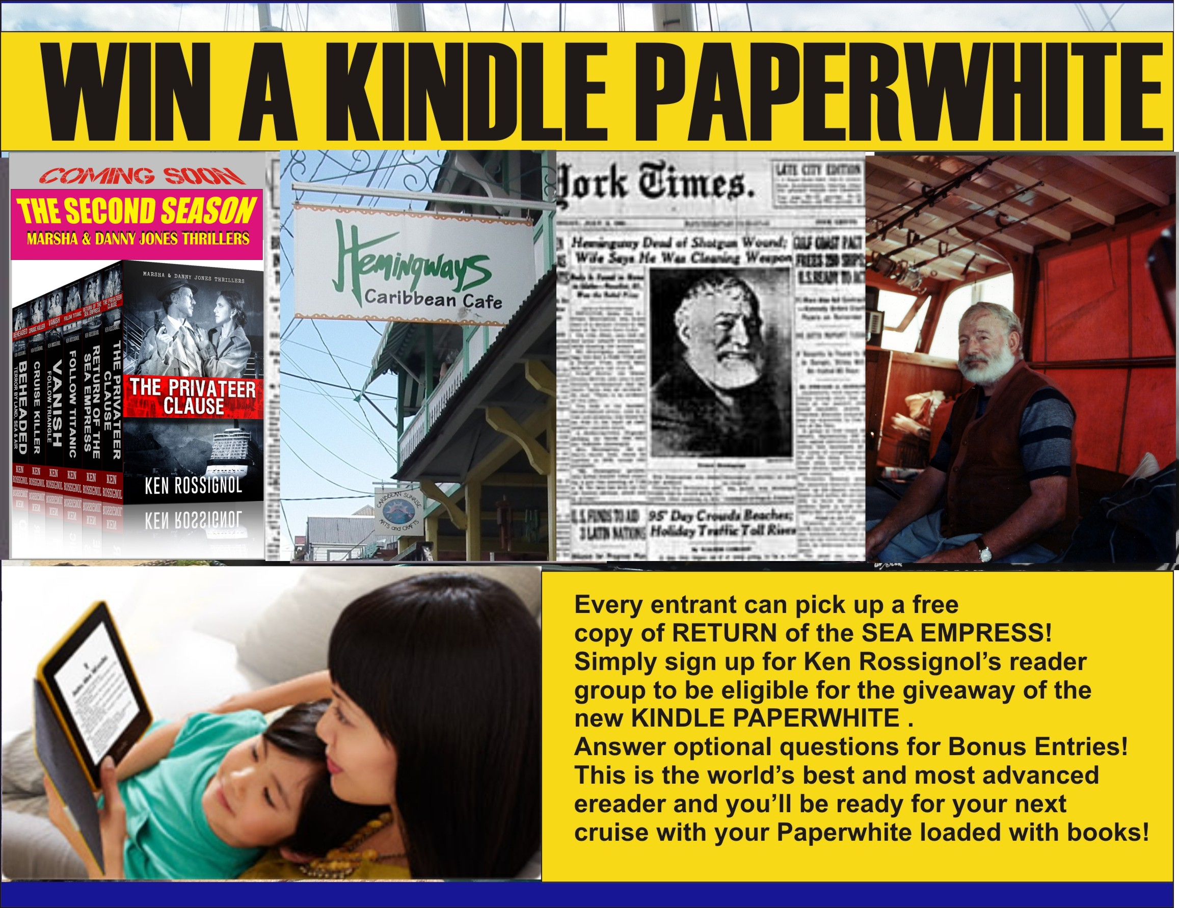 Ernest Hemingway was at home in Idaho with his 4th wife when he died on July 2, 1961; Enter to win a Paperwhite for his birthday