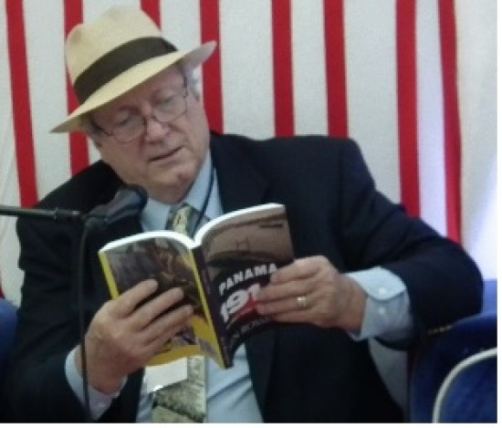At the Panama 2016 International Book Fair in Panama, Ken Rossignol reading to children from his book Panama 1914 small