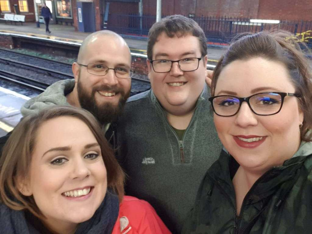 Lisa, Daz, Pete and Emily at the train station