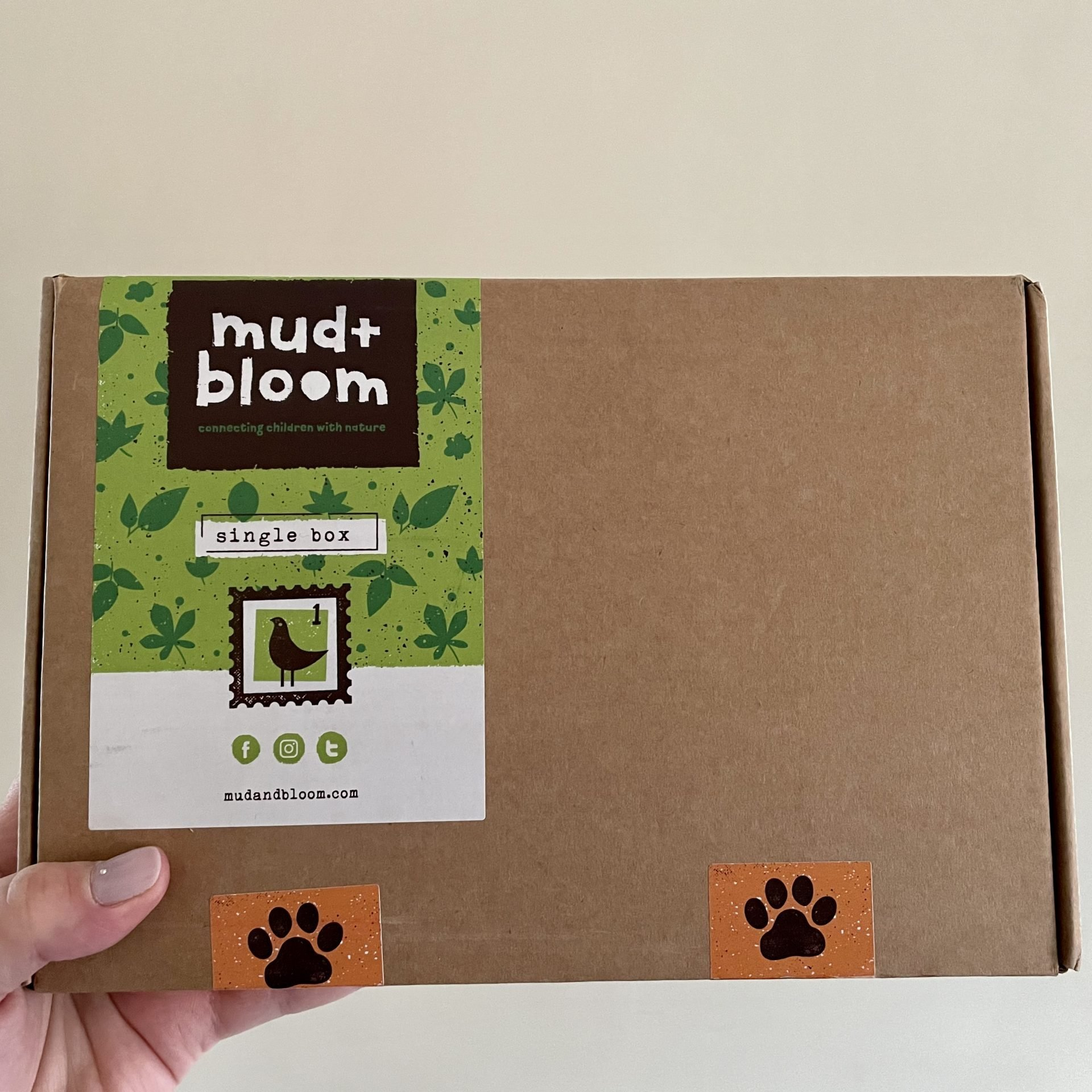 Cardboard Mud and Boom Subscription box being held up by a hand