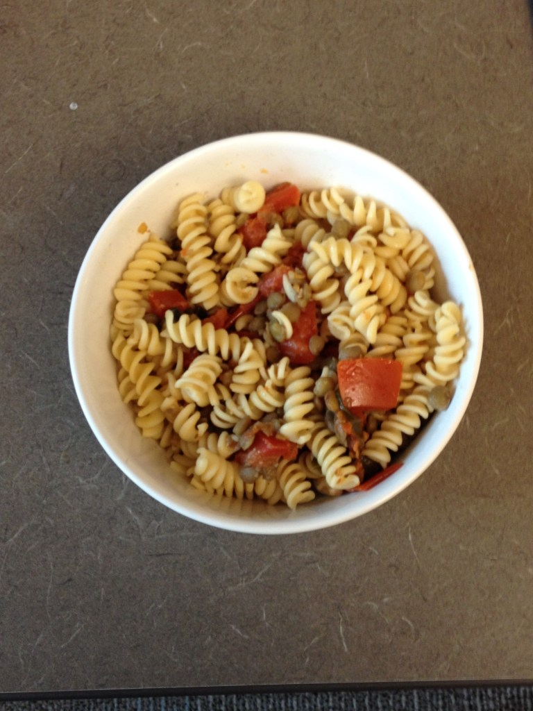 Low iodine diet friendly pasta with lentils and tomato sauce. A healthy and tasty low iodine diet dinner idea from The Professional Mom Project