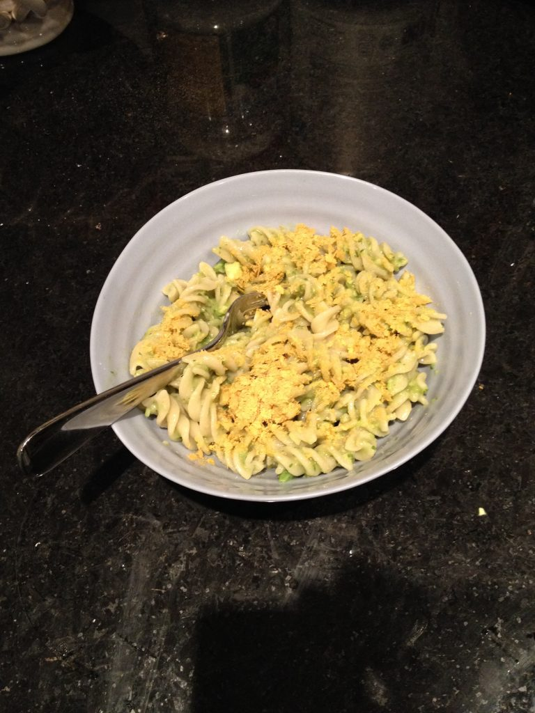 Easy and yummy low iodine diet compliant avocado pasta. Perfect for a quick dinner from The Professional Mom Project