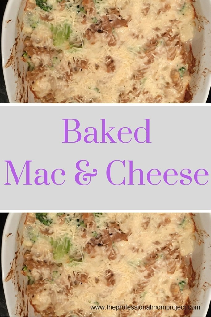 Go to the Professional Mom Project to make this awesome baked mac and cheese with broccoli, cauliflower and whole wheat pasta