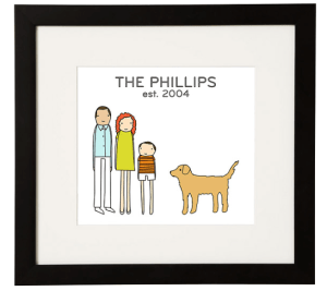 Great anniversary gift ideas from The Professional Mom Project including this adorable family portrait from Uncommon Goods