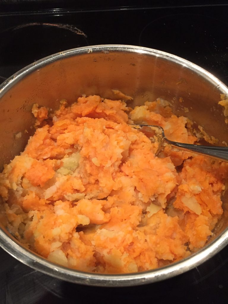 mashed yellow and sweet potatoes for vegan shepherds pie