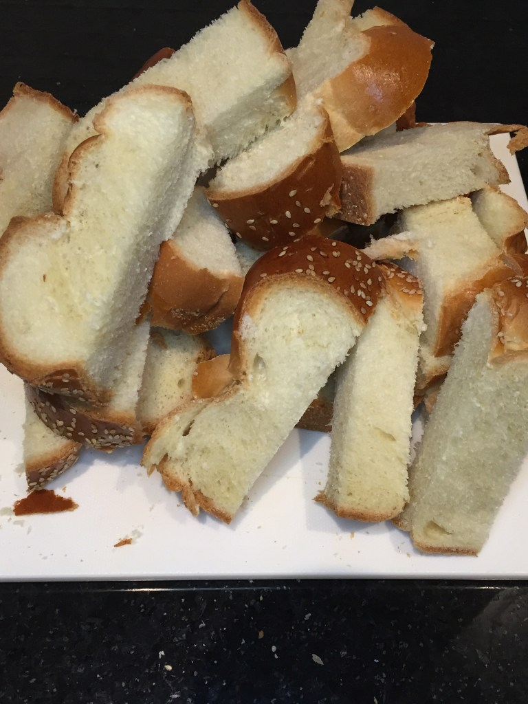 Challah cut up for super simple overnight french toast recipe