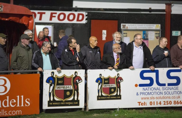A crowd watches Sheffield FC playing
