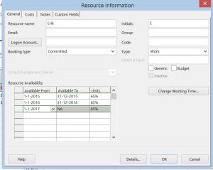 Resource information menu, availability change