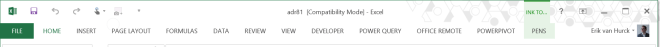 Compatibility mode Excel ribbon