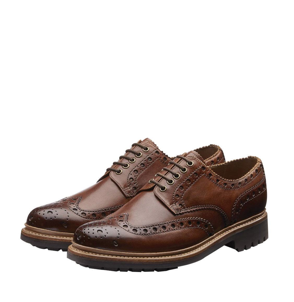 Grenson Archie Goodyear Tan Oxford Brogue Leather Shoes