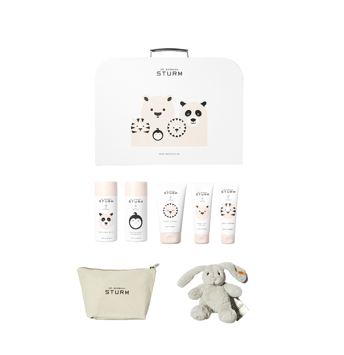 Dr. Barbara Sturm Baby And Kids Set Face Cream 50ml Bathing Milk 150ml Hair And Body Shampoo 150ml Bum Cream 75ml Body Cream 150ml Bunny Pouch