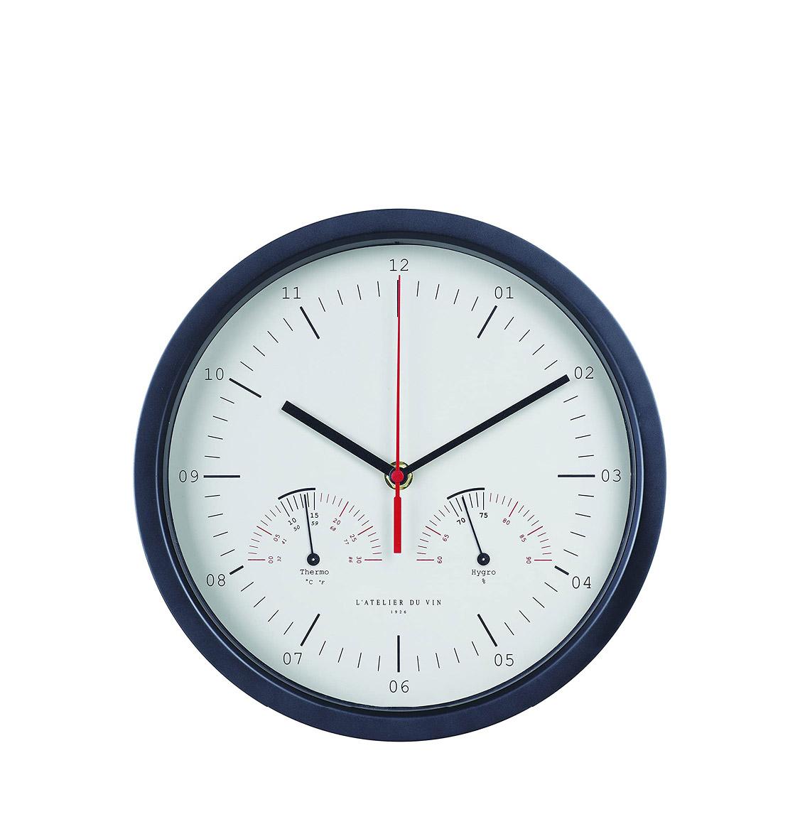 L' Atelier Du Vin Aluminum Hygro-Thermo Clock