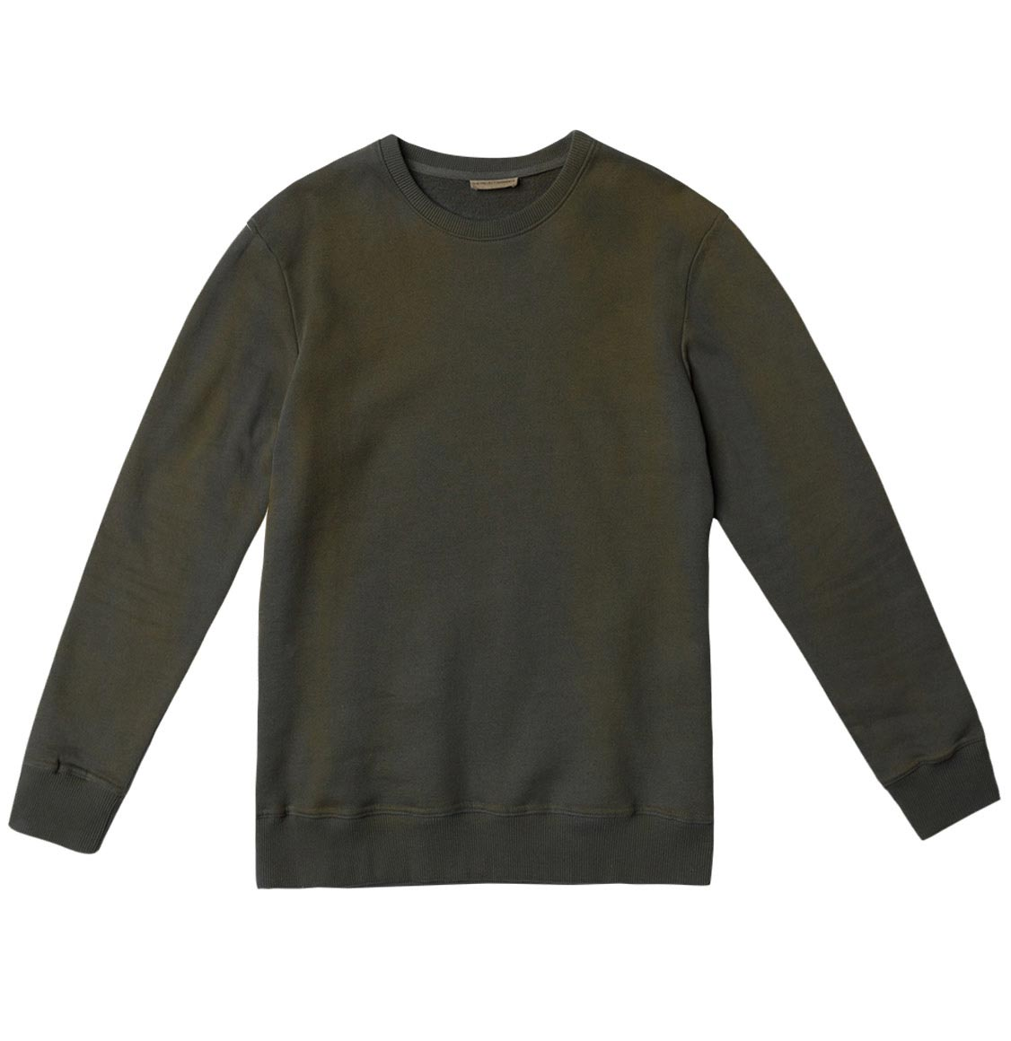 Acid Dye Organic Cotton Crew Neck Sweatshirt Light Khaki