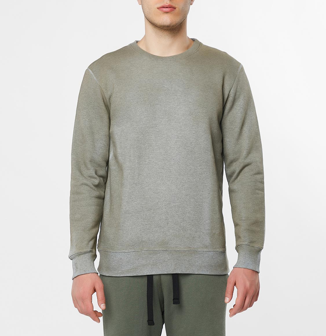 Acid Dye Organic Cotton Crew Neck Sweatshirt Melange Grey