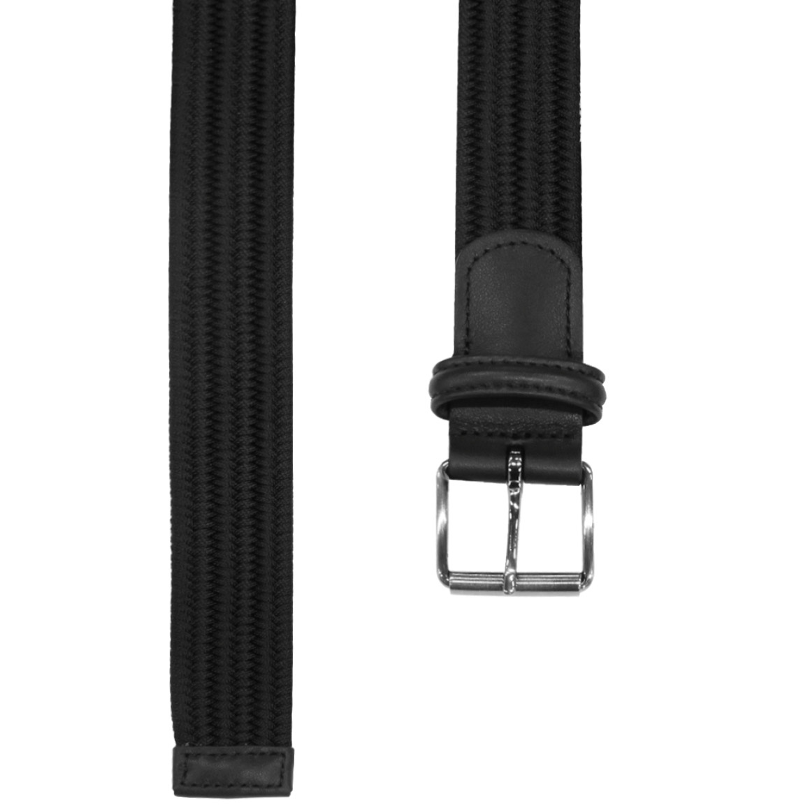 Anderson's Leather-Trimmed Woven Slim Belt Black
