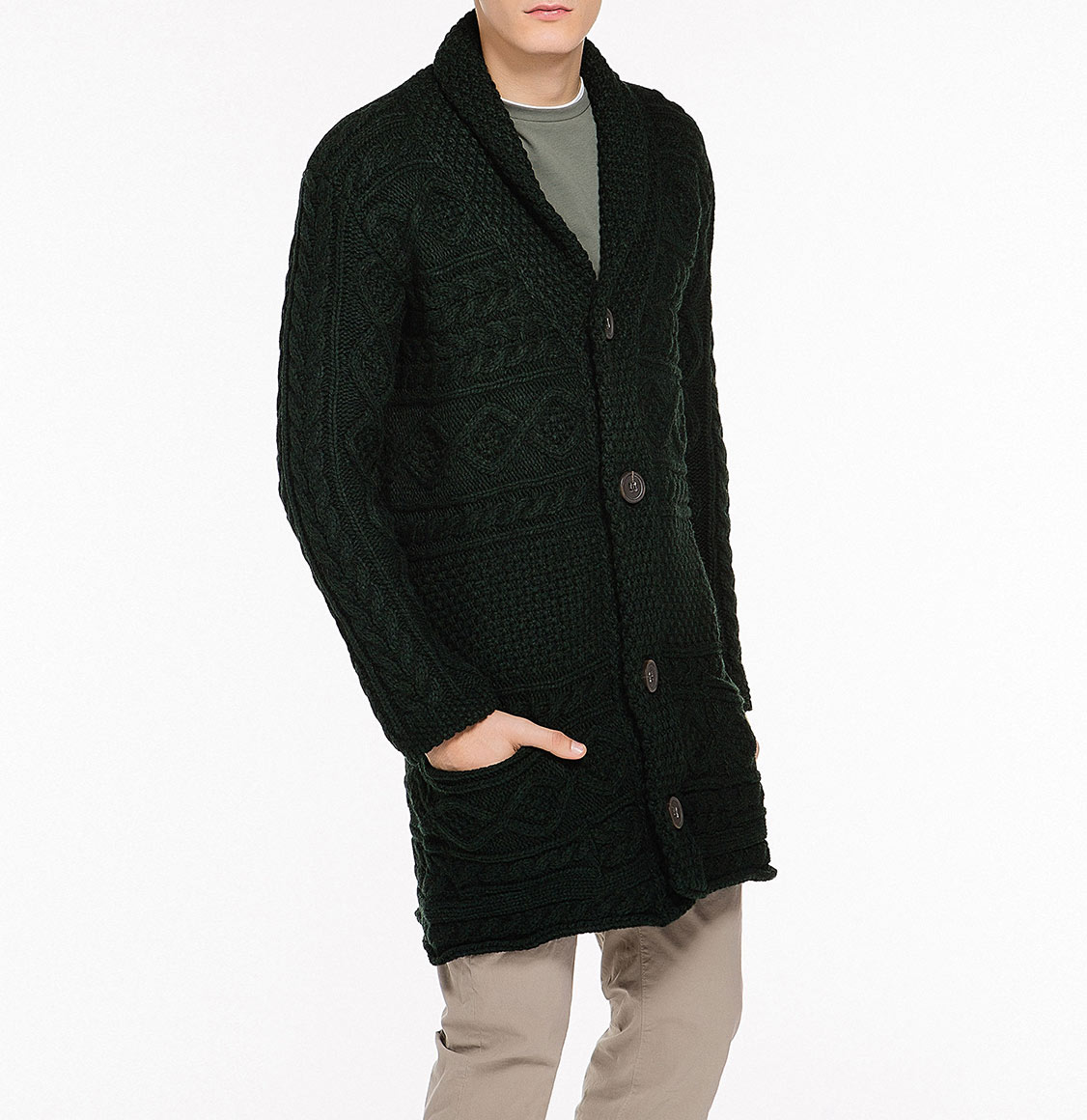 Button Front Shawl Collar Wool Blend Cardigan Forest Green