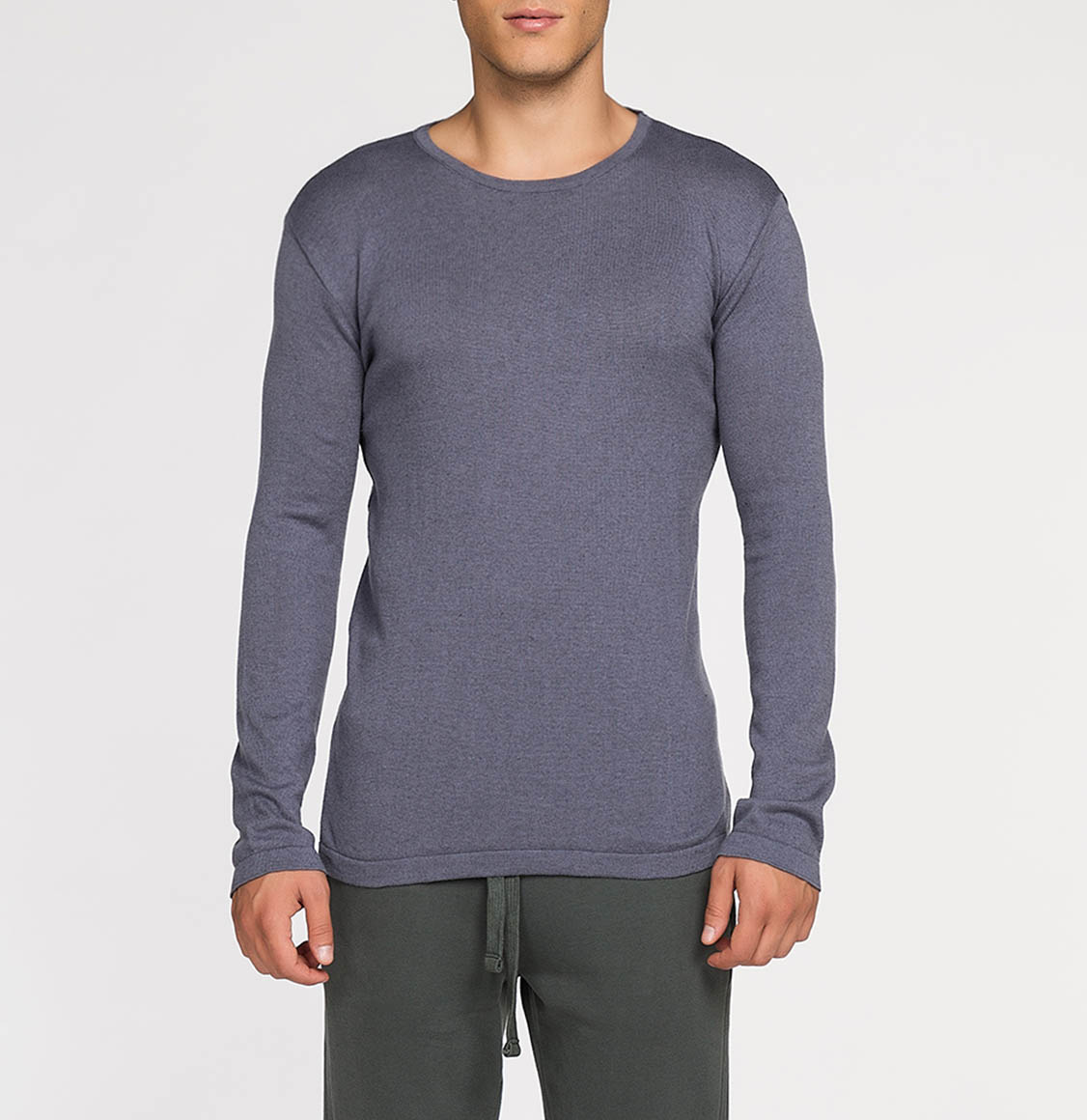 Cashmere Blend Crew Neck Knitted Sweater Grey