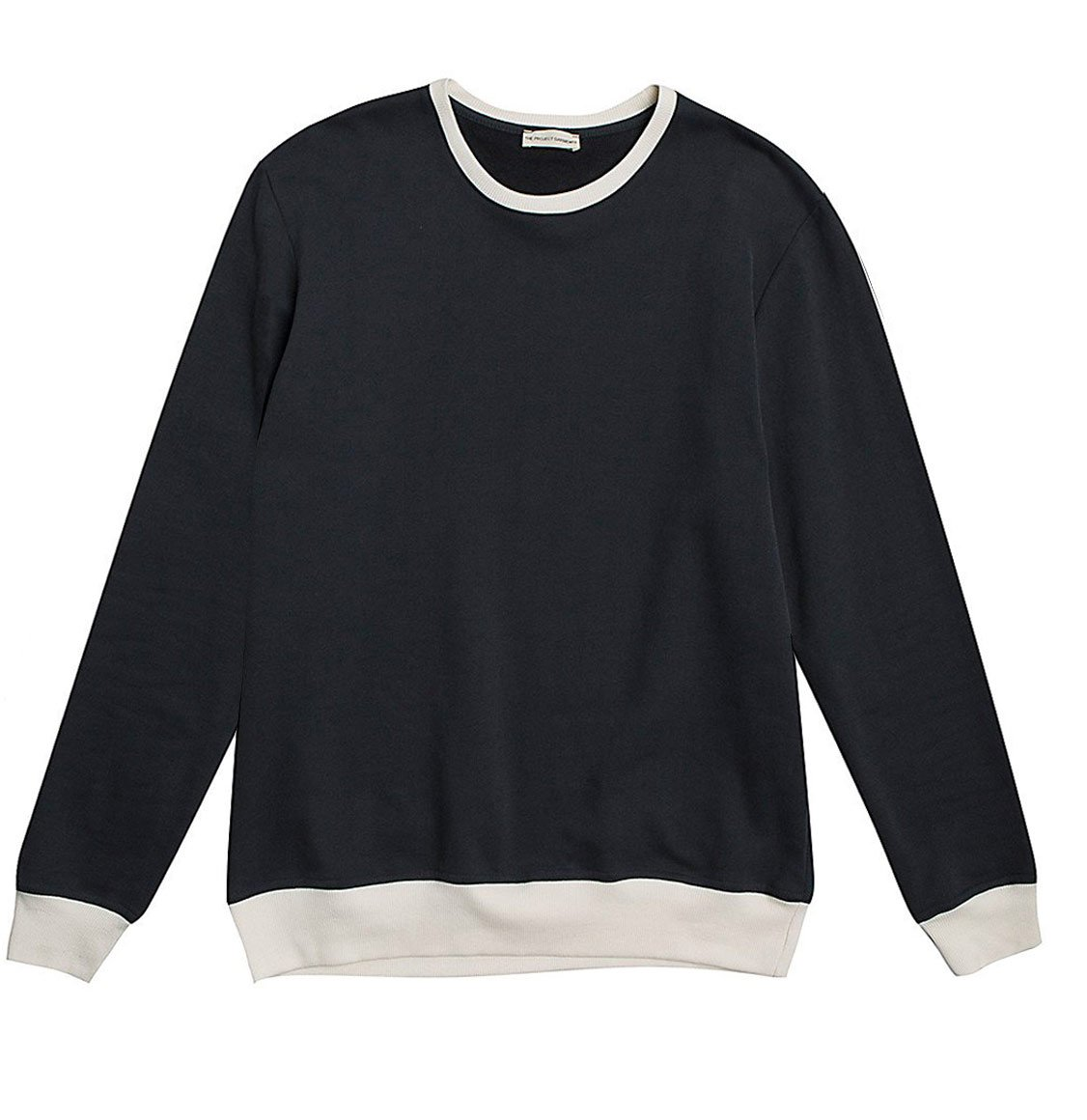 Color Block Crew Neck Sweatshirt Navy Blue