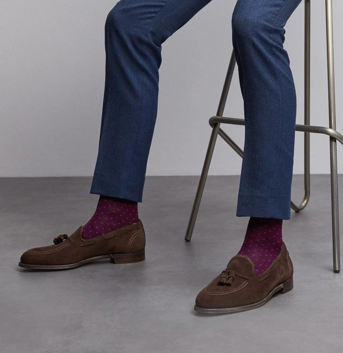 London Sock Co Spot Of Style Bordeaux