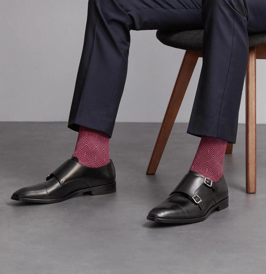 London Sock Co Jacquard Rose