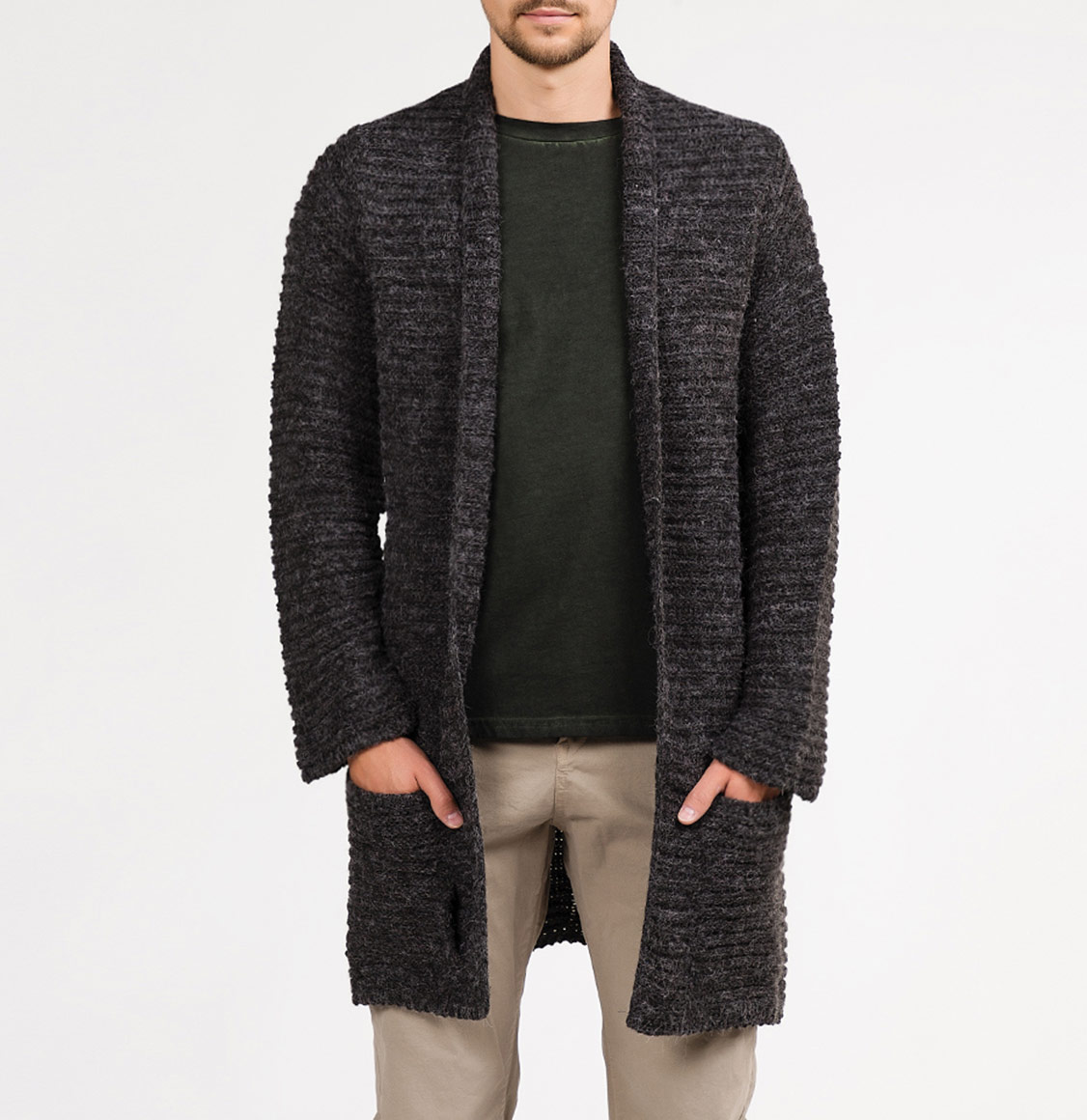 Longline Knitted Shawl Collar Wool Blend Melange Cardigan Charcoal Grey