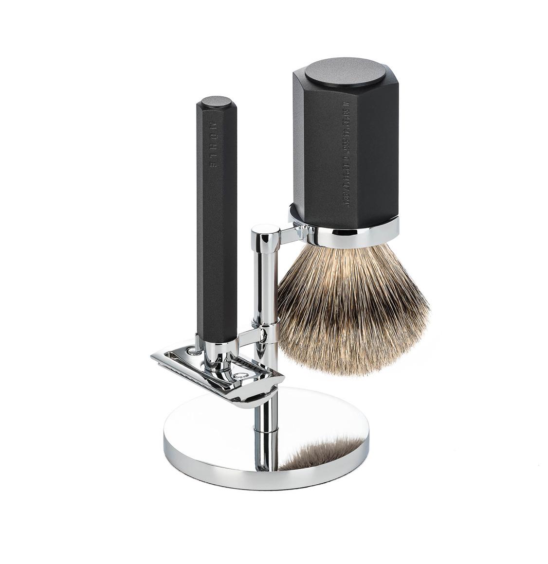 Muhle Hexagon Shaving Set Silvertip Badger Brush With Safety Razor