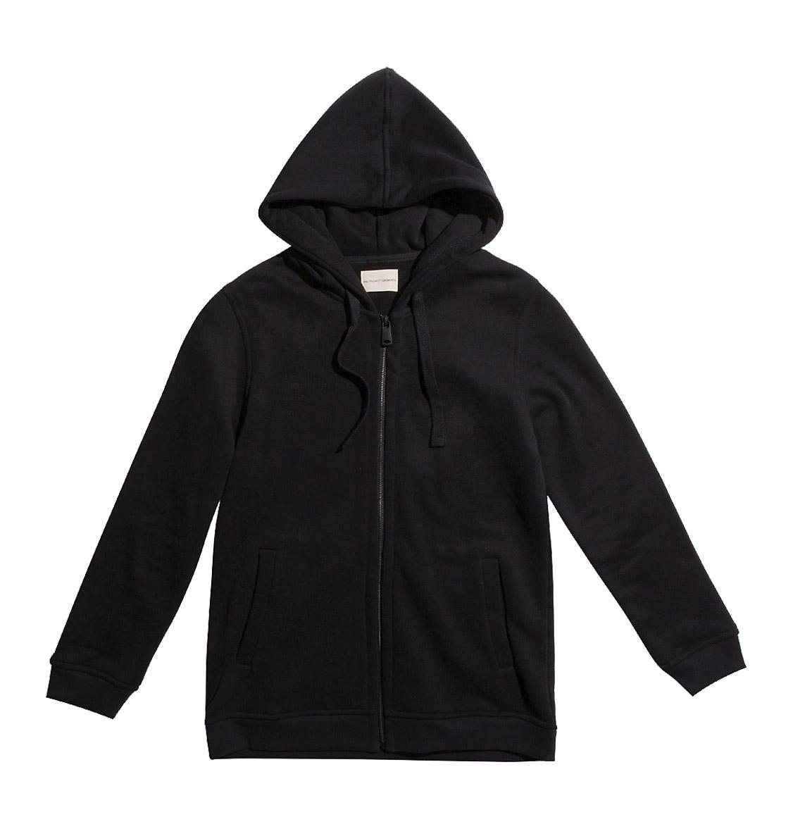 Organic Cotton Zip Up Hoodie Black