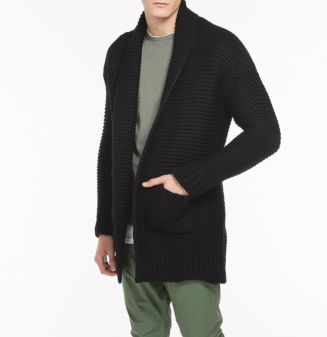 Oversized Shawl Collar Wool Blend Cardigan Black