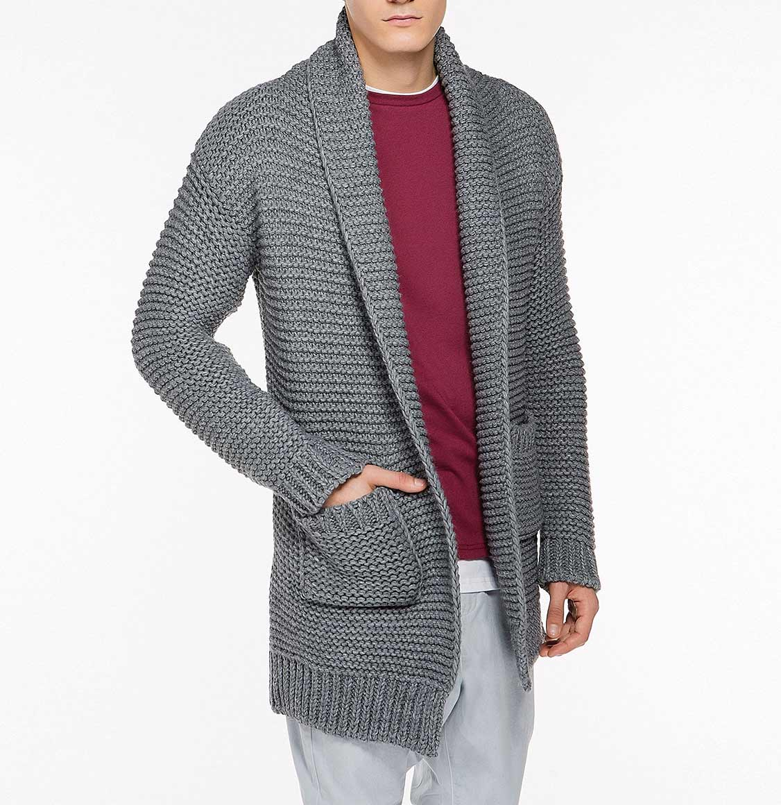 Oversized Shawl Collar Wool Blend Cardigan Grey