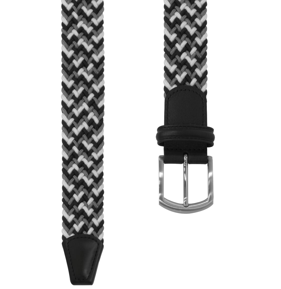 Anderson's Leather-Trimmed Multi Woven Belt Black and White