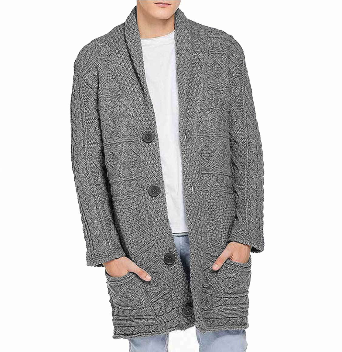 Button Front Shawl Collar Wool Blend Cardigan Grey